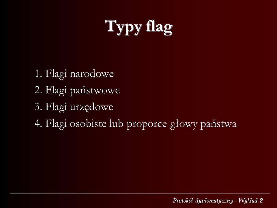 Typy flag 1. Flagi narodowe 2. Flagi państwowe 3. Flagi urzędowe