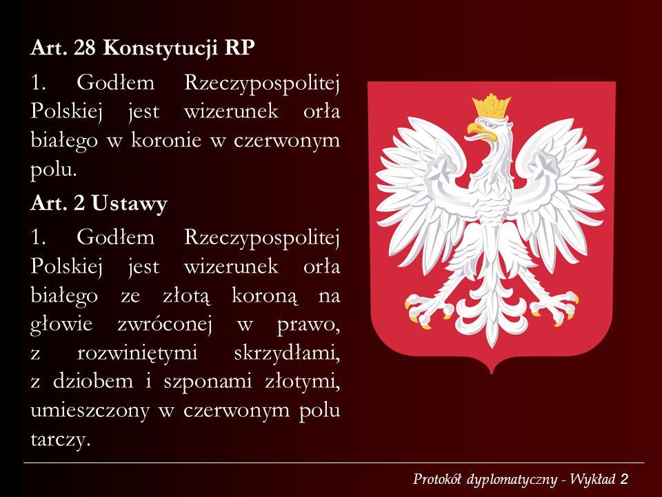 Art. 28 Konstytucji RP 1. Godłem Rzeczypospolitej Polskiej jest wizerunek orła białego w koronie w czerwonym polu.