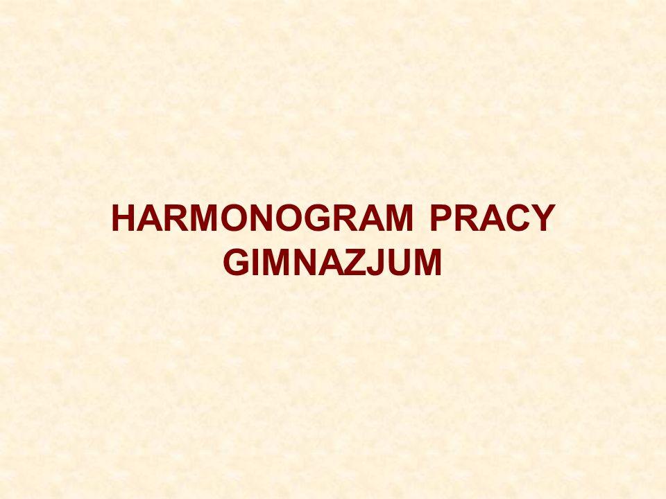 HARMONOGRAM PRACY GIMNAZJUM