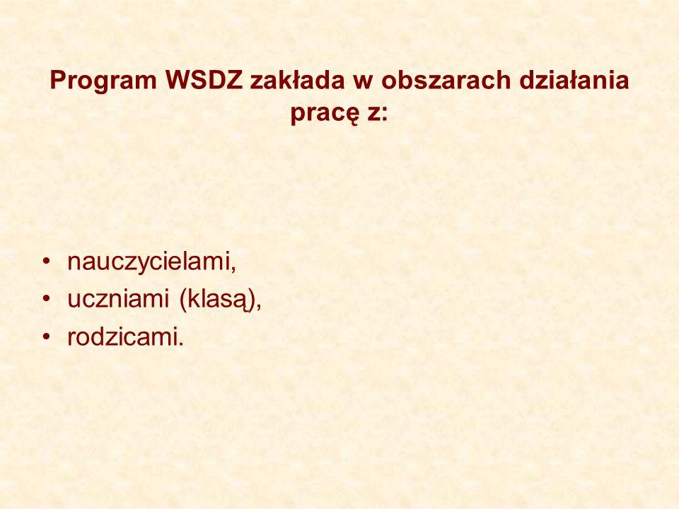 Program WSDZ zakłada w obszarach działania pracę z: