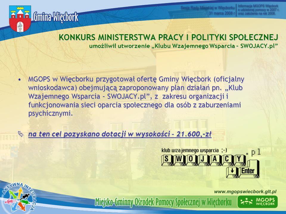 """KONKURS MINISTERSTWA PRACY I POLITYKI SPOŁECZNEJ umożliwił utworzenie """"Klubu Wzajemnego Wsparcia – SWOJACY.pl"""