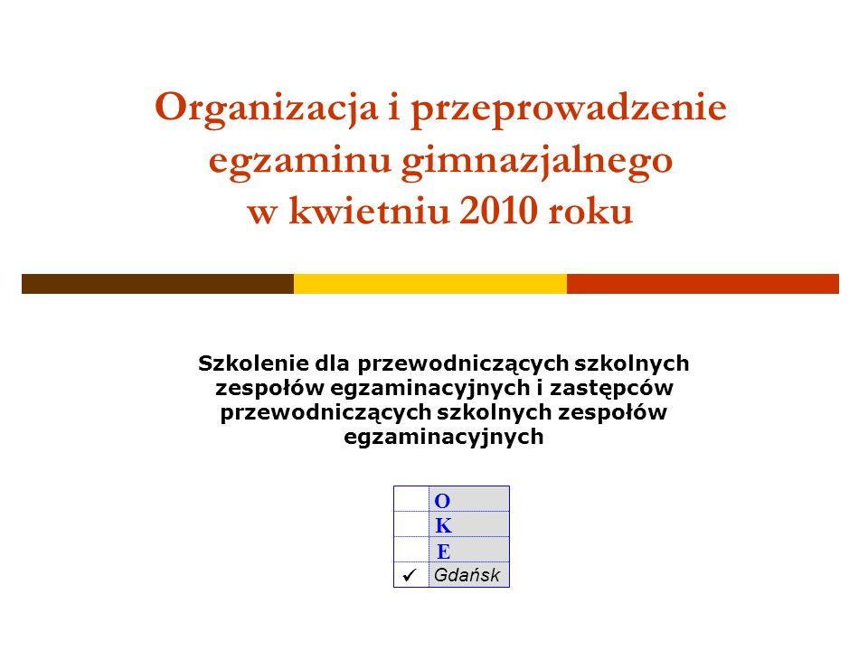 Organizacja i przeprowadzenie egzaminu gimnazjalnego w kwietniu 2010 roku