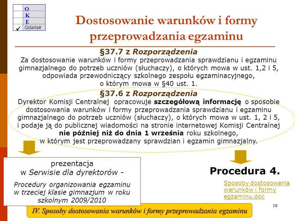 Dostosowanie warunków i formy przeprowadzania egzaminu