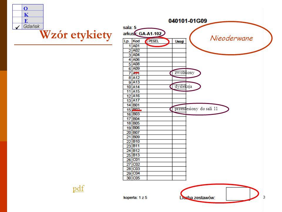 Wzór etykiety pdf Nieoderwane zwolniony dysleksja