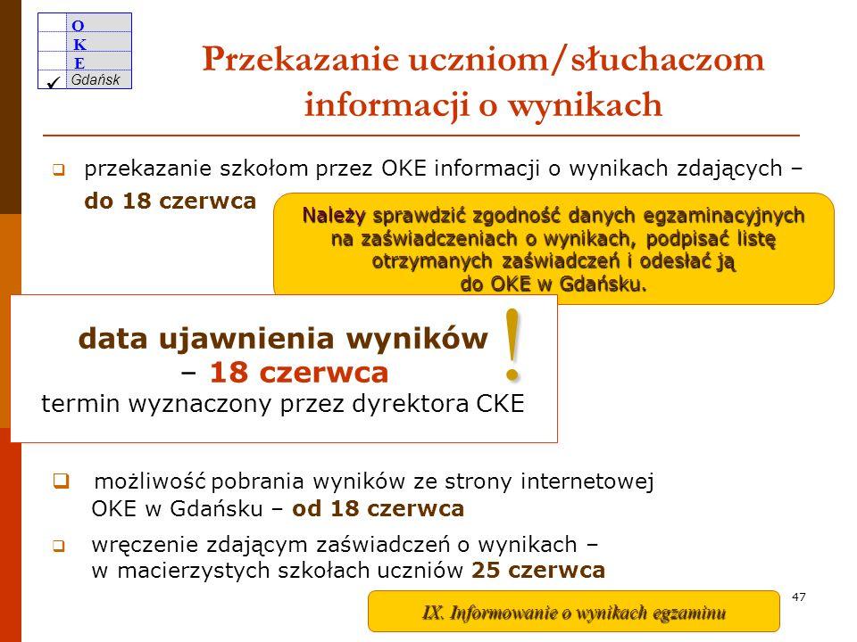 Przekazanie uczniom/słuchaczom informacji o wynikach
