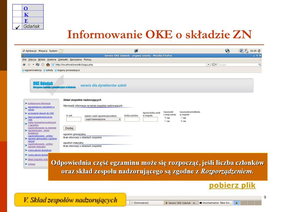 Informowanie OKE o składzie ZN