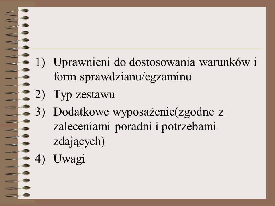 Uprawnieni do dostosowania warunków i form sprawdzianu/egzaminu