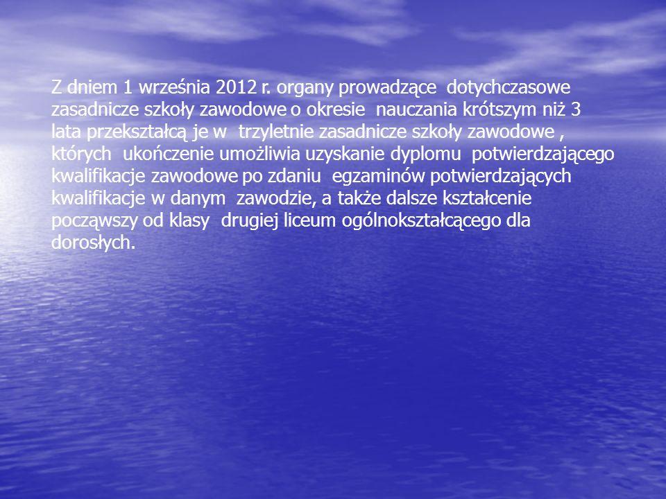 Z dniem 1 września 2012 r. organy prowadzące dotychczasowe