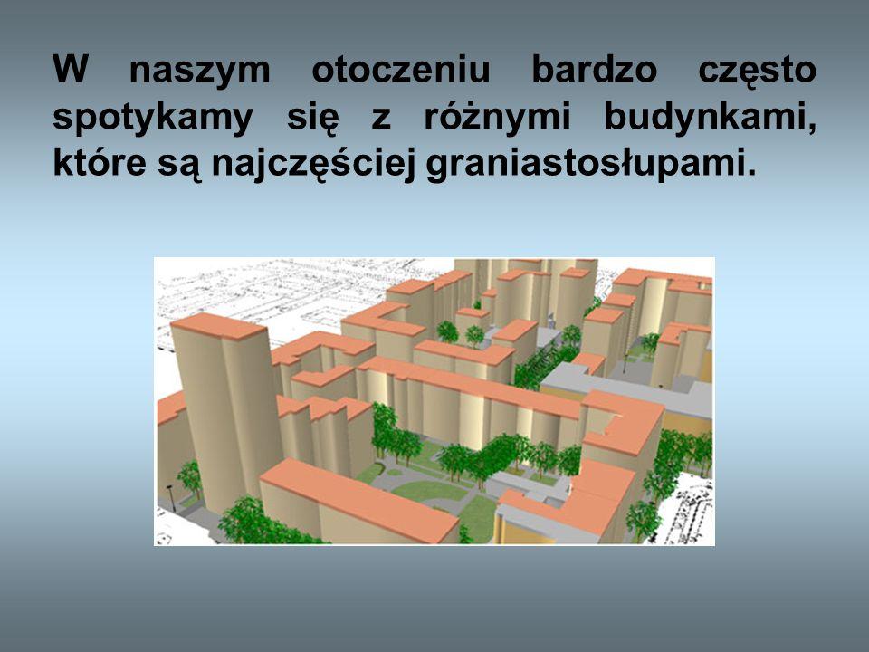 W naszym otoczeniu bardzo często spotykamy się z różnymi budynkami, które są najczęściej graniastosłupami.