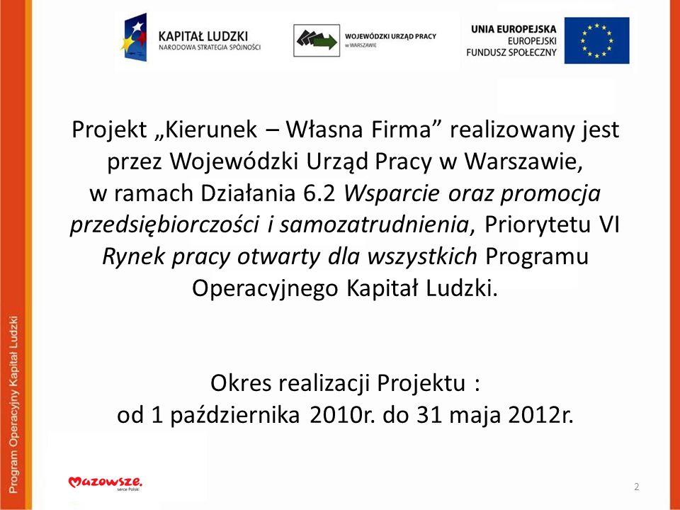 """Projekt """"Kierunek – Własna Firma realizowany jest przez Wojewódzki Urząd Pracy w Warszawie, w ramach Działania 6.2 Wsparcie oraz promocja przedsiębiorczości i samozatrudnienia, Priorytetu VI Rynek pracy otwarty dla wszystkich Programu Operacyjnego Kapitał Ludzki."""
