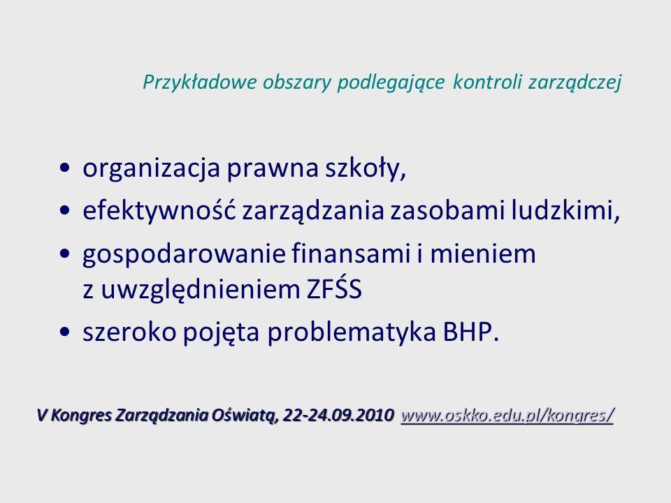 Przykładowe obszary podlegające kontroli zarządczej