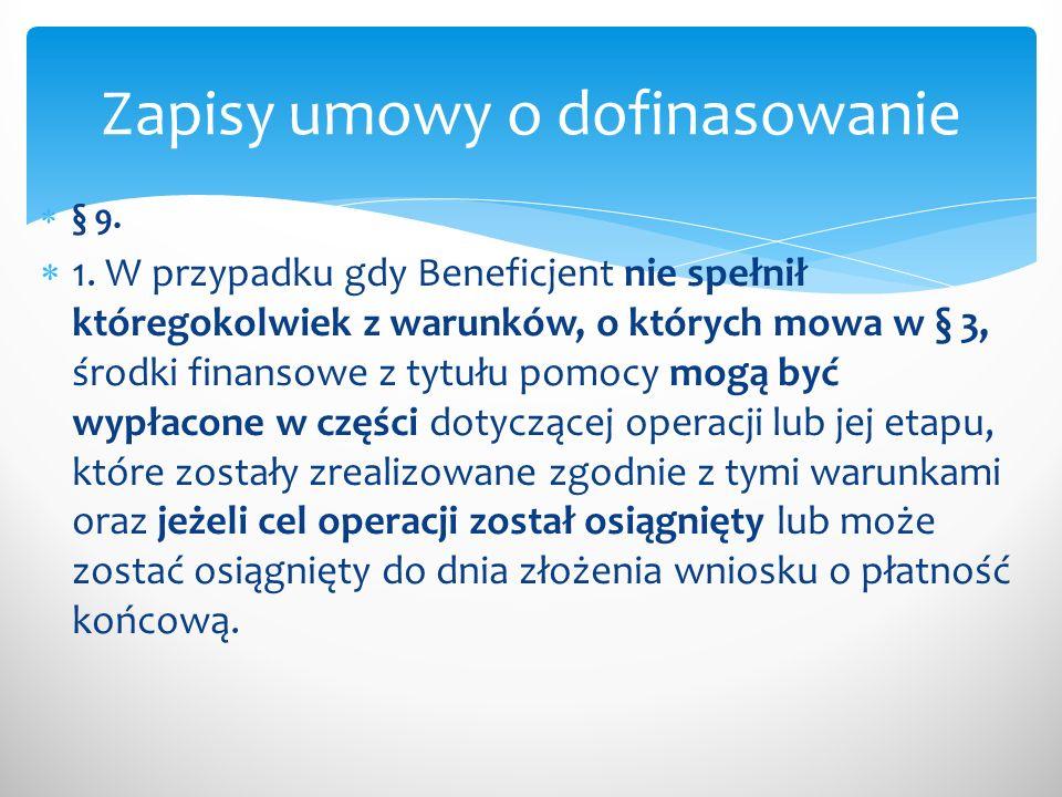 Zapisy umowy o dofinasowanie