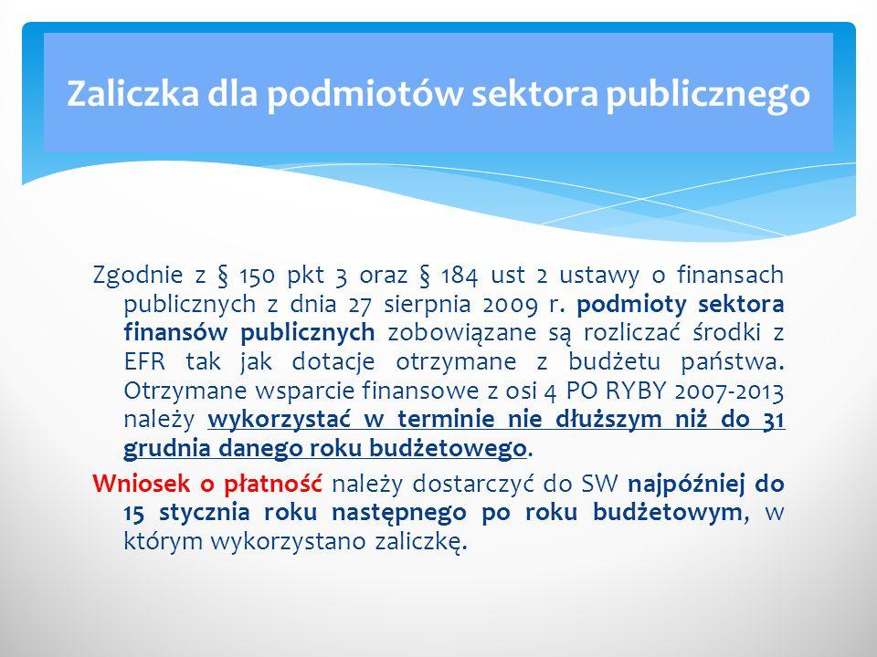Zaliczka dla podmiotów sektora publicznego