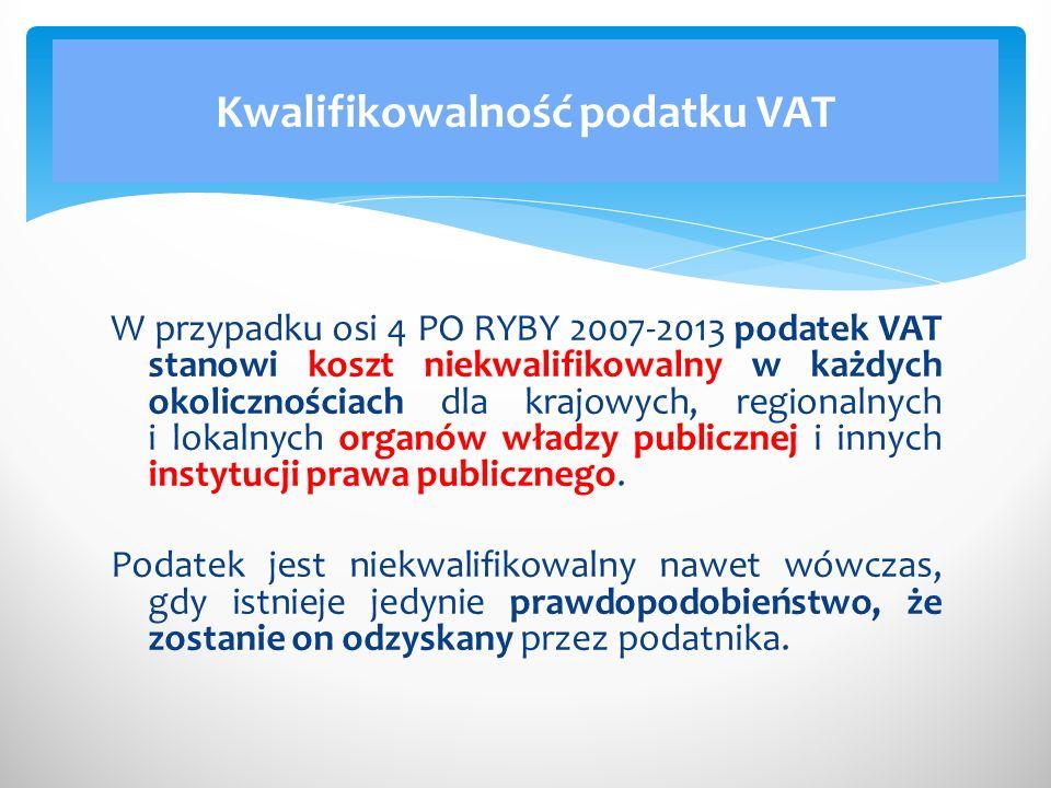 Kwalifikowalność podatku VAT