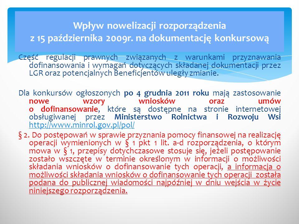Wpływ nowelizacji rozporządzenia z 15 października 2009r