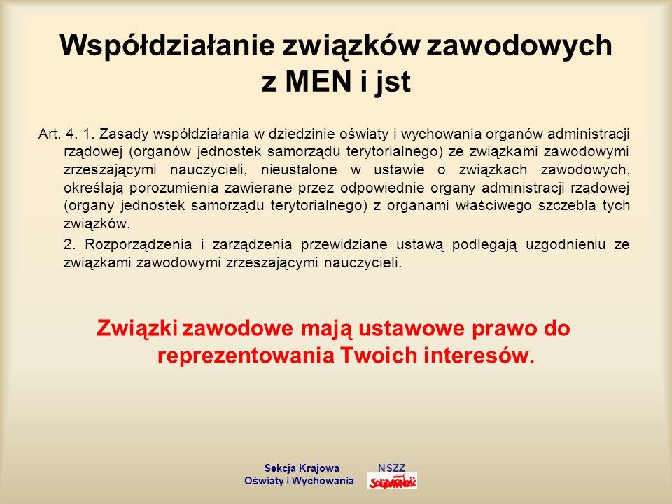 Współdziałanie związków zawodowych z MEN i jst