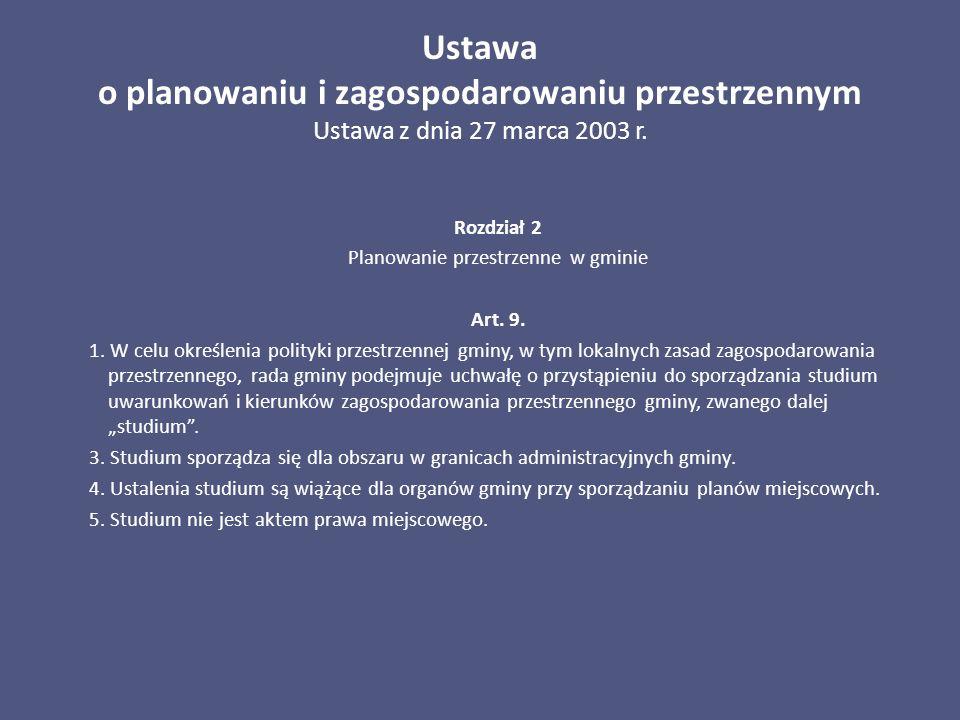Ustawa o planowaniu i zagospodarowaniu przestrzennym