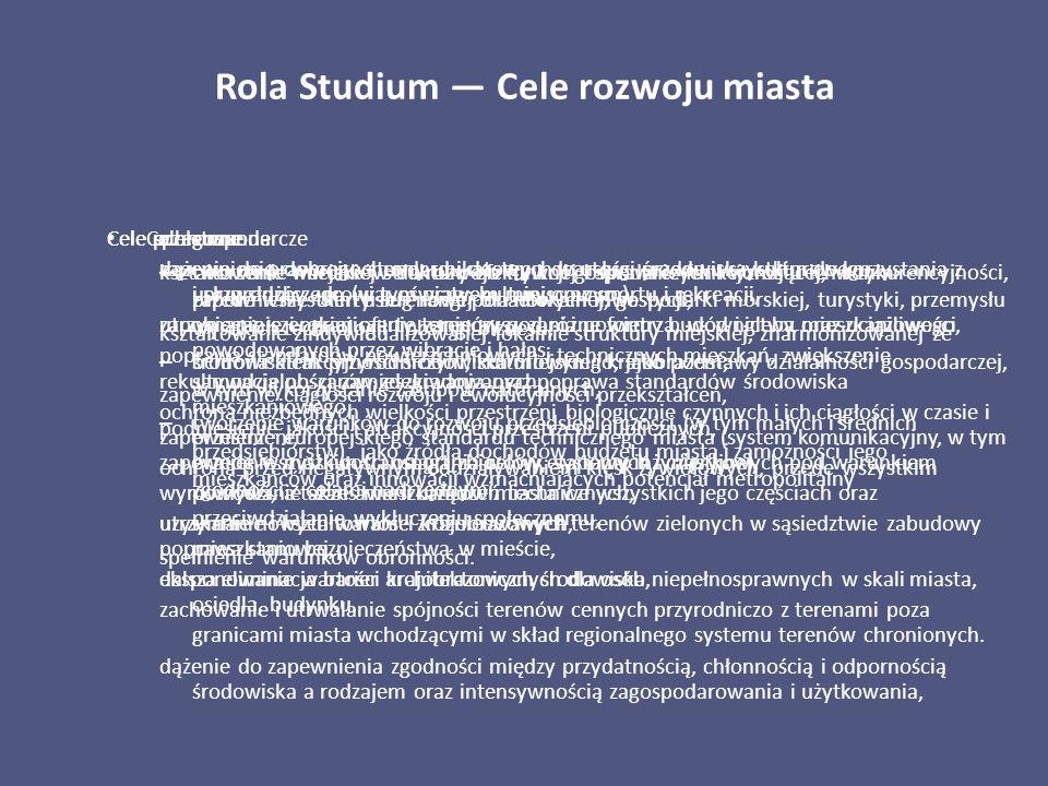 Rola Studium — Cele rozwoju miasta