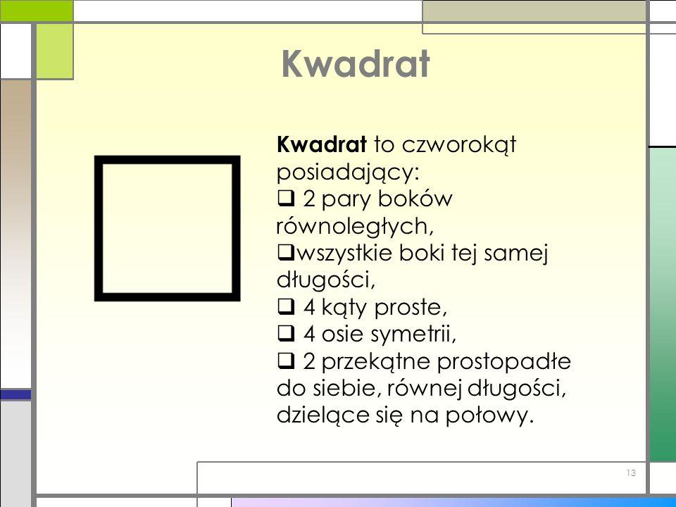Kwadrat Kwadrat to czworokąt posiadający: 2 pary boków równoległych,