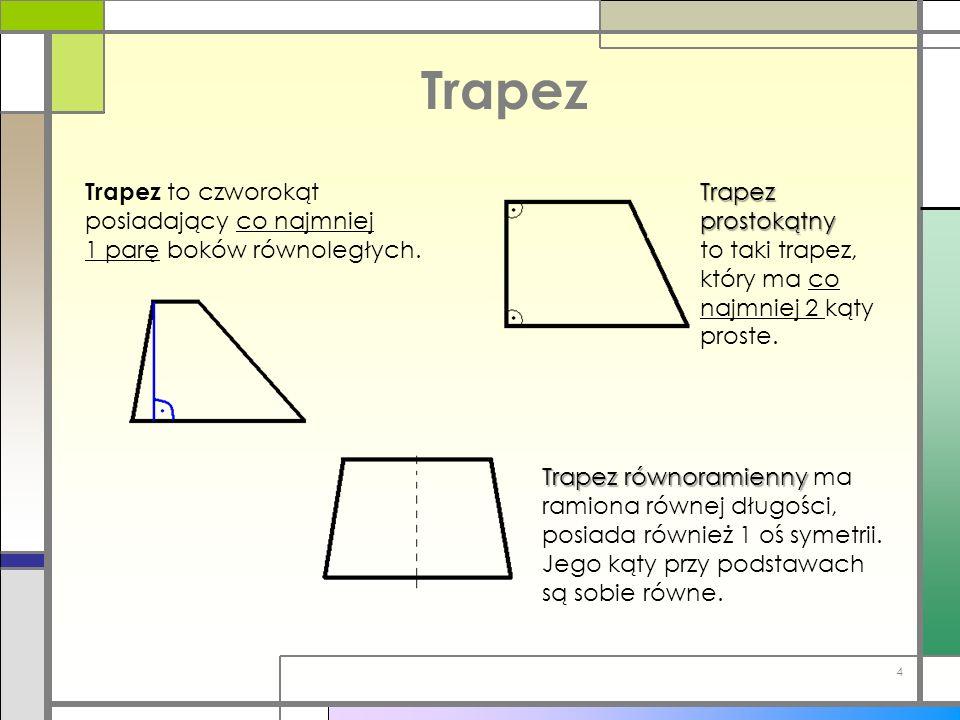 Trapez Trapez to czworokąt posiadający co najmniej