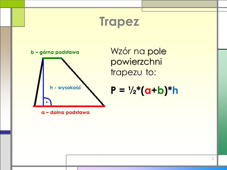 Trapez P = ½*(a+b)*h Wzór na pole powierzchni trapezu to: