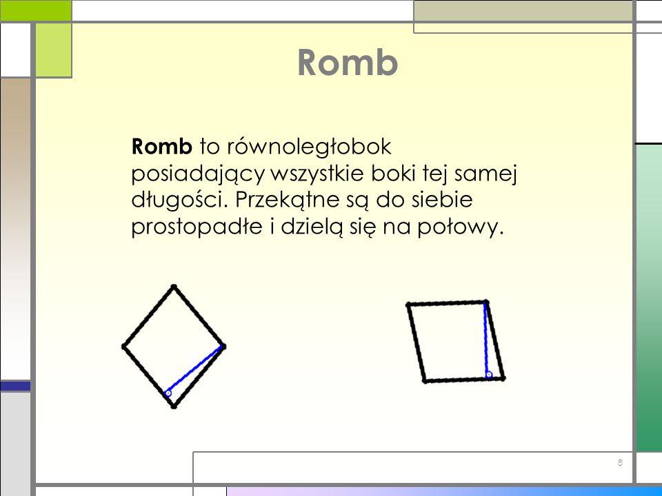 Romb Romb to równoległobok posiadający wszystkie boki tej samej długości.
