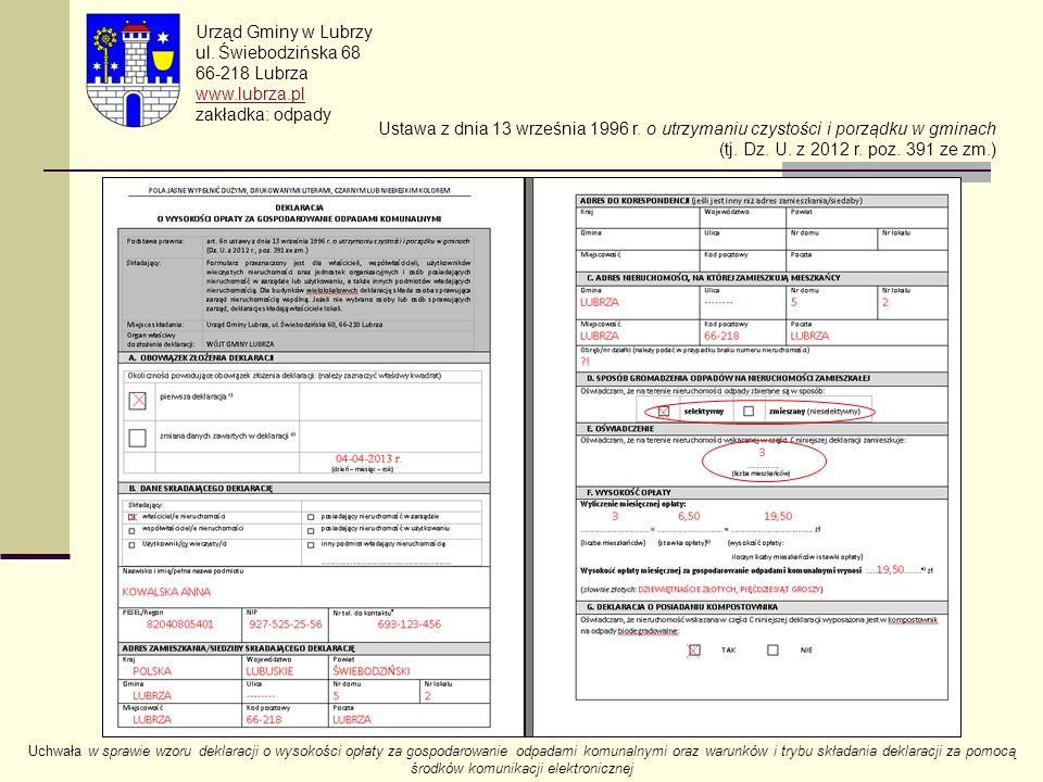 Urząd Gminy w Lubrzy ul. Świebodzińska 68 66-218 Lubrza www.lubrza.pl