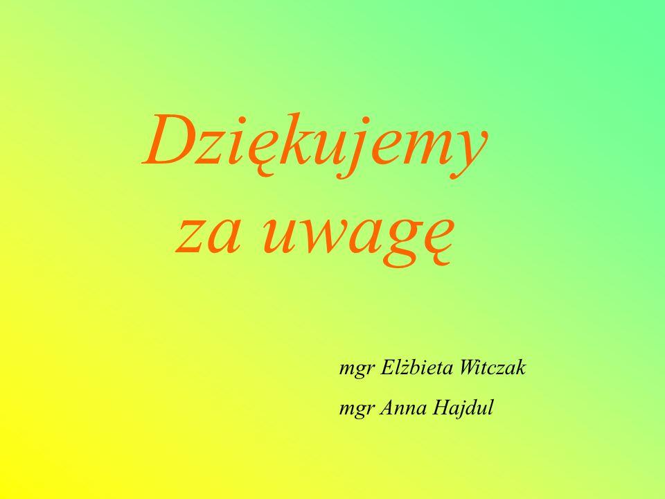 Dziękujemy za uwagę mgr Elżbieta Witczak mgr Anna Hajdul