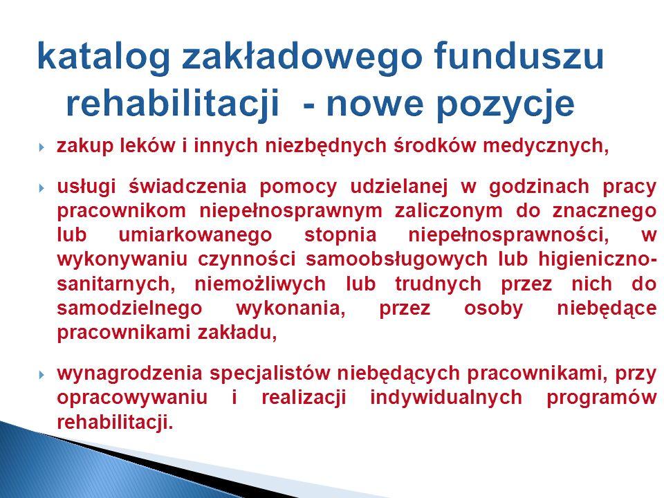 katalog zakładowego funduszu rehabilitacji - nowe pozycje