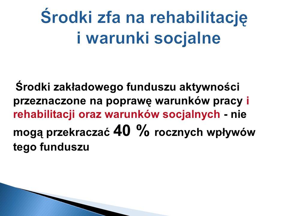 Środki zfa na rehabilitację i warunki socjalne