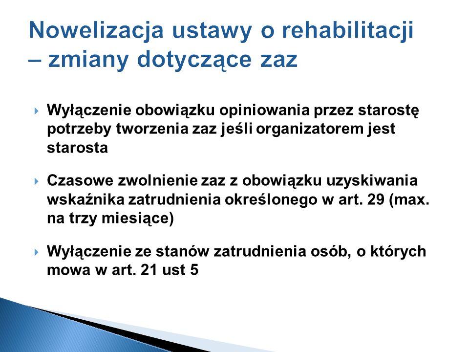 Nowelizacja ustawy o rehabilitacji – zmiany dotyczące zaz