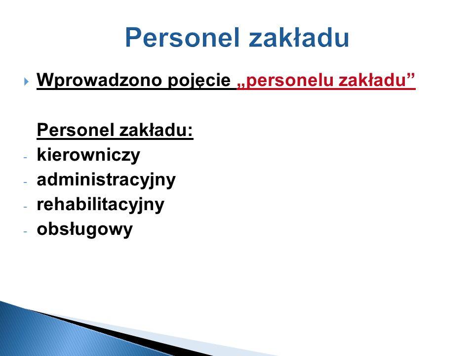 """Personel zakładu Wprowadzono pojęcie """"personelu zakładu"""