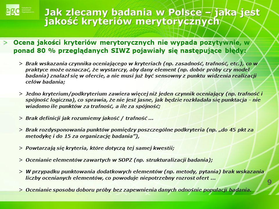 Jak zlecamy badania w Polsce – jaka jest jakość kryteriów merytorycznych