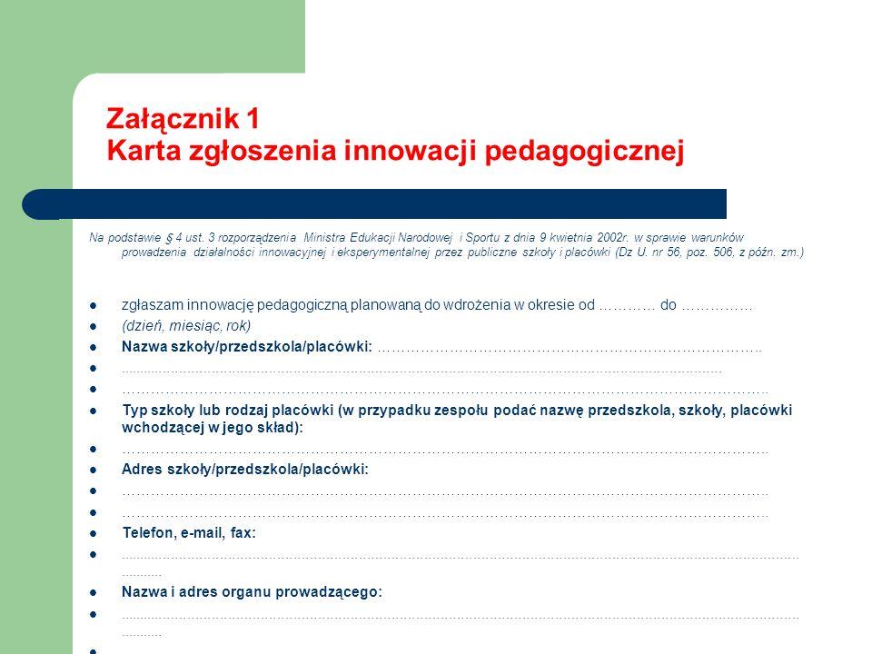 Załącznik 1 Karta zgłoszenia innowacji pedagogicznej