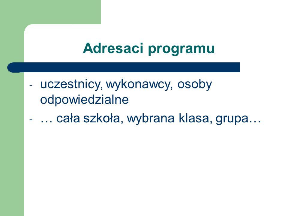 Adresaci programu uczestnicy, wykonawcy, osoby odpowiedzialne