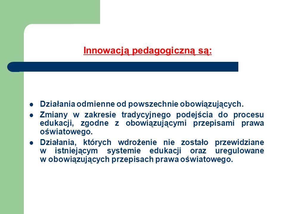 Innowacją pedagogiczną są: