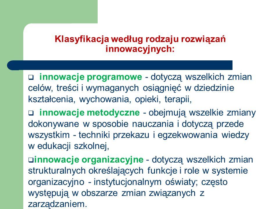 Klasyfikacja według rodzaju rozwiązań innowacyjnych: