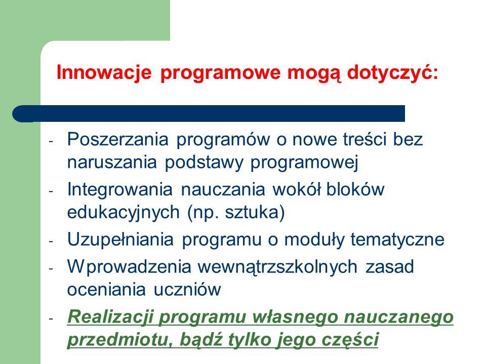 Innowacje programowe mogą dotyczyć: