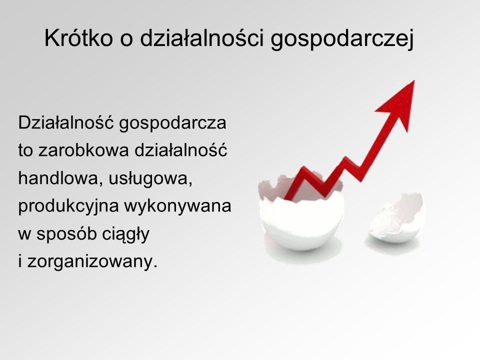 Krótko o działalności gospodarczej