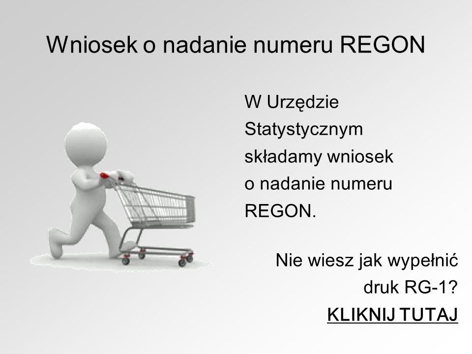 Wniosek o nadanie numeru REGON