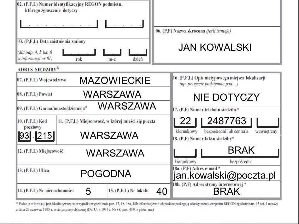 JAN KOWALSKI MAZOWIECKIE WARSZAWA NIE DOTYCZY WARSZAWA 22 2487763