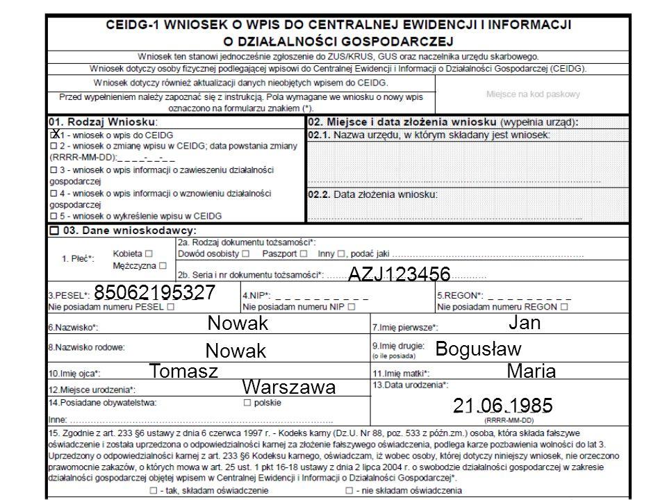 AZJ123456 85062195327 Nowak Jan Bogusław Nowak Tomasz Maria Warszawa