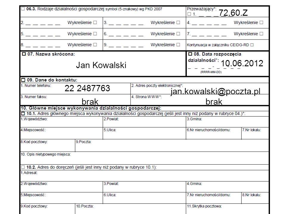 72.60.Z Jan Kowalski 10.06.2012 22 2487763 jan.kowalski@poczta.pl brak brak