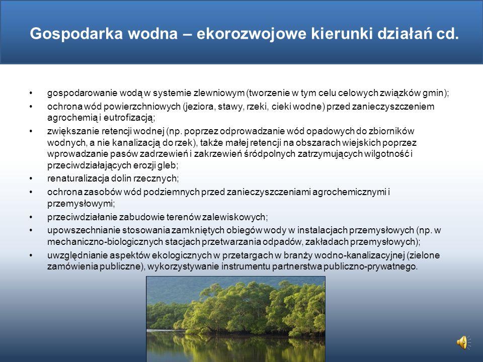 Gospodarka wodna – ekorozwojowe kierunki działań cd.