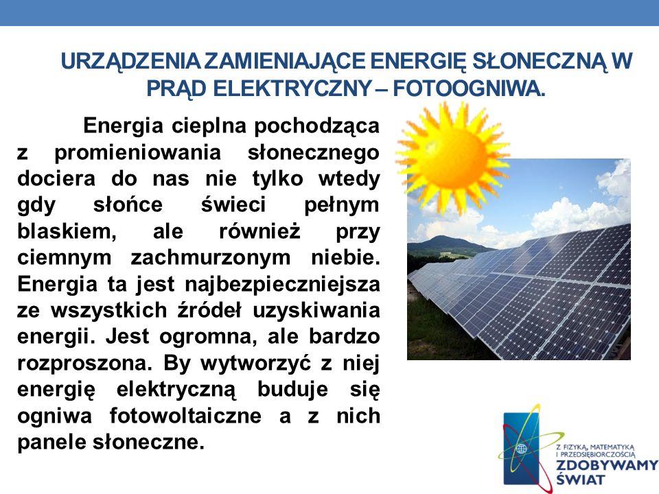 Urządzenia zamieniające Energię słoneczną w prąd elektryczny – fotoogniwa.
