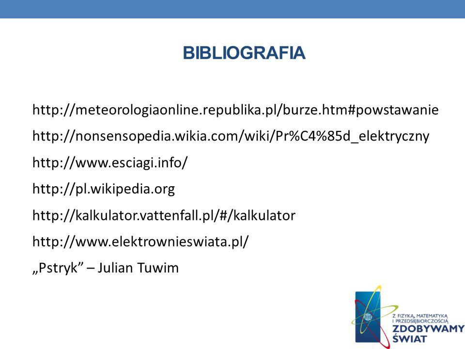 Bibliografia http://meteorologiaonline.republika.pl/burze.htm#powstawanie. http://nonsensopedia.wikia.com/wiki/Pr%C4%85d_elektryczny.