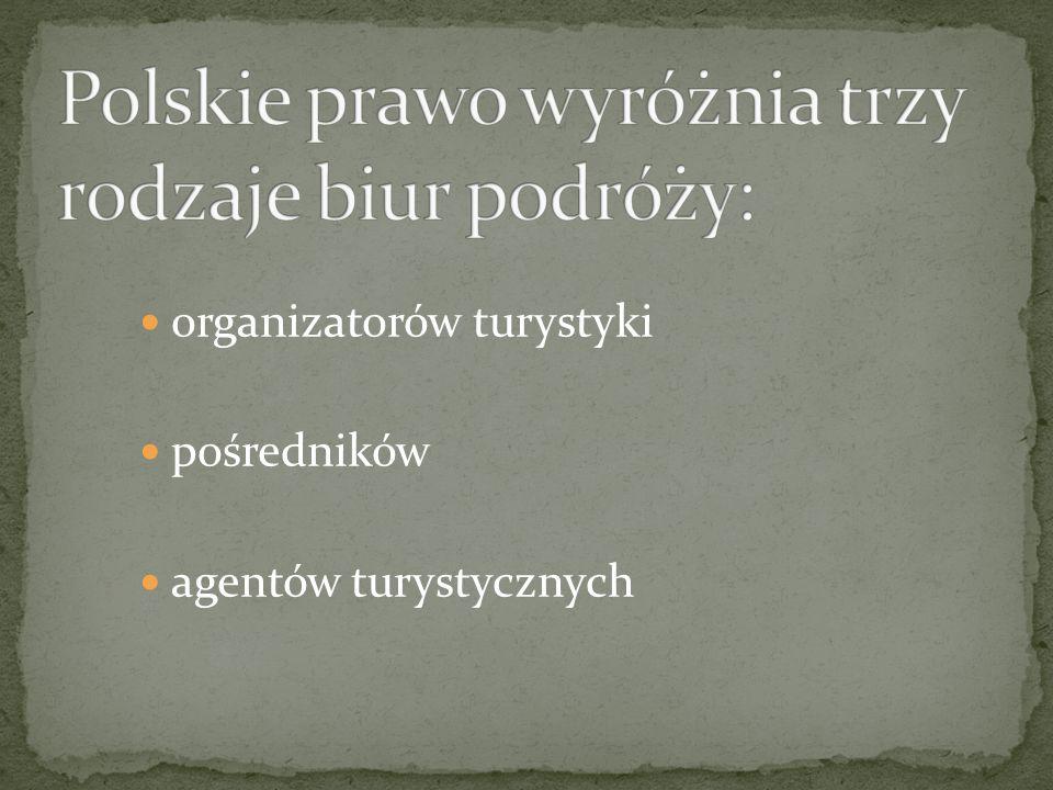 Polskie prawo wyróżnia trzy rodzaje biur podróży: