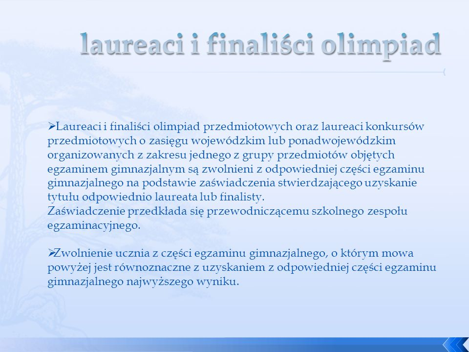 laureaci i finaliści olimpiad
