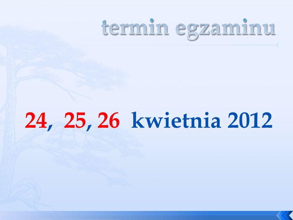 termin egzaminu 24, 25, 26 kwietnia 2012