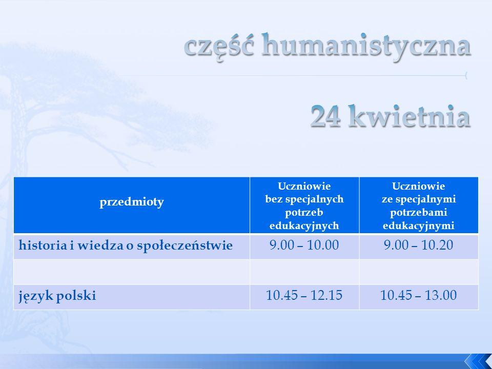 część humanistyczna 24 kwietnia